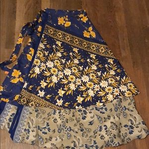 Double Sided Silk Wrap Skirt M/L